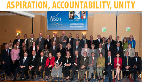 Photograph of presidents, trustees, and provosts who were among the attendees of the September 30 Vision Project Conference