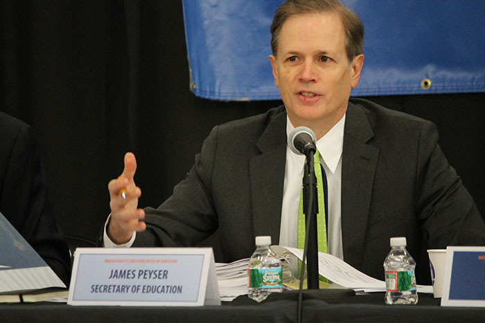 Secretary Peyser speaking during a Board of Higher Education meeting