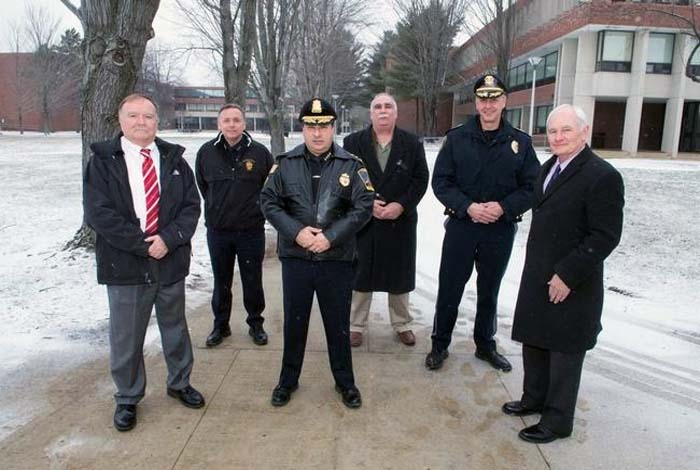 Police Chiefs, from left, Paul Gallagher, North Andover; James Fitzpatrick, Lawrence; Joe Solomon, Methuen; Alan DiNaro, Haverhill; and Kevin Oullet, Amesbury, will be working with recruits at the new training academy about to open at NECC. At right is George Moriarty, NECC executive director of workforce and corporate relations. Photo / Mike Dean - See more at: https://newburyport.wickedlocal.com/article/20150116/NEWS/150117234#sthash.xBbTAYAm.dpuf