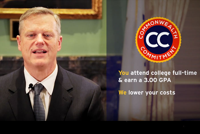 Screenshot of Governor Baker's video about the Commonwealth Commitment