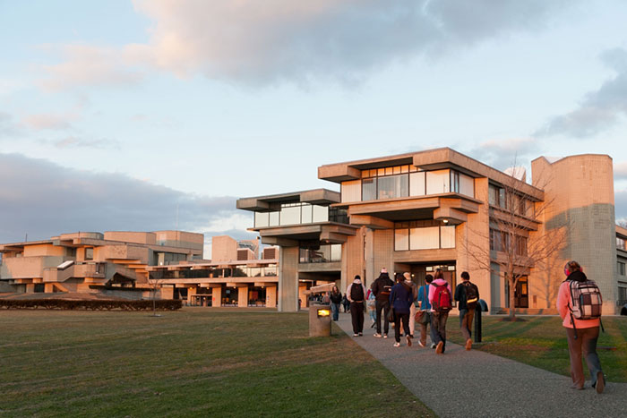 Students walk on UMass Dartmouth campus